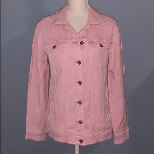 New Arizona Co. distressed pink jean jacket